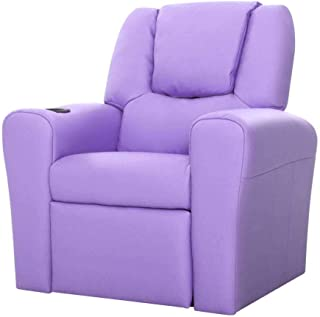 Keezi Kids Recliner Chair Purple PU Leather Sofa Lounge Couch Children Armchair
