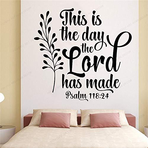 wZUN Este es el día Cita Tatuajes de Pared versículos de la Biblia Vinilo Pegatinas de Pared decoración del hogar Mural de Arte de Pared extraíble 50X52 cm