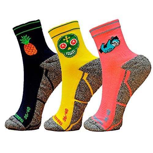 HOOPOE Pack Calcetines Running Mix, 3 Pares, Hombres, Mujer, Divertidos, Pineapple #Lazy, Skully Talla 36-40