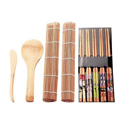 Belissy 13pcs / Set Bamboo Sushi Making Kit Family Office Party Casera Sushi Gadget para los Amantes de la Comida