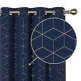 Deconovo Lot de 2 Rideaux Occultants Rideau Chambre Fille Bleu Marine 140x229cm Thermique Isolant avec Oeillets