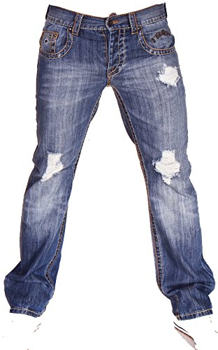 2Chilly Trance Men Men Jeans Destroyed Blue Blue Middelblauw Straight Cut Final Sale