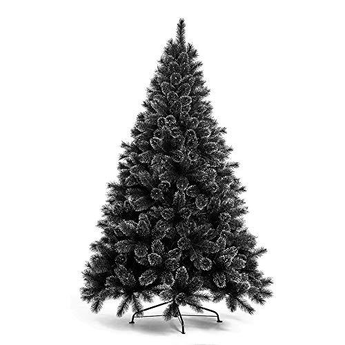 Nataland Albero di Natale Artificiale Nero con Punte Argento Modello Nordend Altezza 210 Cm, Abete Super Folto con Effetto Realistico e Rami con Aghi Anticaduta (210 Cm)