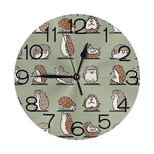 Reloj de pared redondo para yoga, diseño de erizo, grande, decorativo con números redondos, decoración del hogar moderna para sala de estar (25 cm)