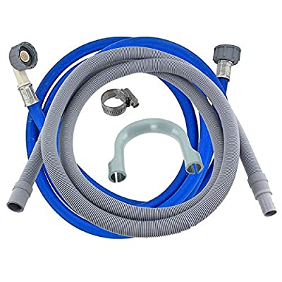 SPARES2GO Universal Cold Water Fill Long 3.5m Inlet Pipe + 2.5m Drain Hose Extension Kit