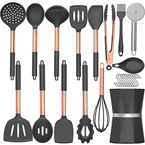 Silicone Cooking Utensil Set, Umite Chef Kitchen Utensils with Copper Stainless Steel Handle, 26 Pcs Kitchen Spatula Set, Non-stick Heat Resistant Silicone, Best Kitchen Gadget Tools Set - Grey