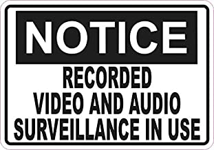 StickerTalk Notice Video and Audio Surveillance Vinyl Sticker, 5 inches by 3.5 inches