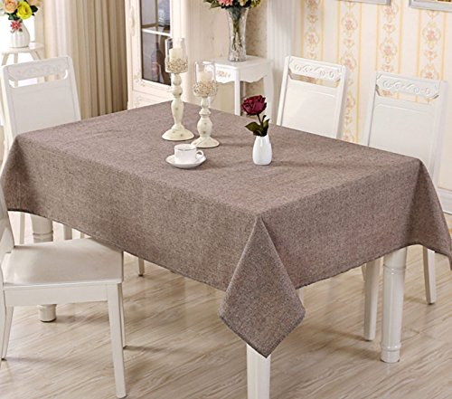 Moderne Minimalistischer Stil Einfarbige Leinentischdecken Rechteckiges Couchtischtuch Tischdecken,Brown-55.1in*78.7in
