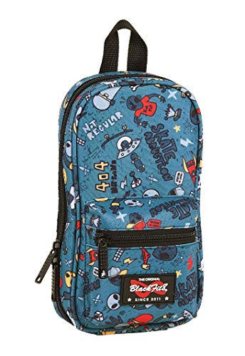 Safta 442041747 Plumier mochila 4 estuches llenos, 33 piezas, escolar Blackfit8, Azul (Alien)