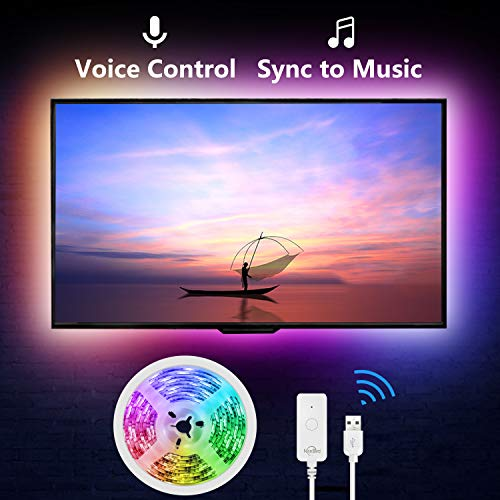 NiteBird Smart TV Backlight Work with Alexa Google Home,Sync to Music WiFi LED TV light 9.2Ft Kit for 32'' to 60'' TV, Waterproof 5050 RGB Strip Light with Controller, Dimmable