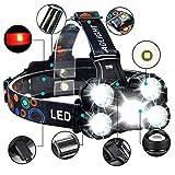 COOLEAD Torcia Frontale Zoomable 4 Modalità 5 LED Ricaricabile Regolabile Impermeabile Lampada...
