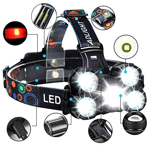 COOLEAD Torcia Frontale Zoomable 4 Modalità 5 LED...