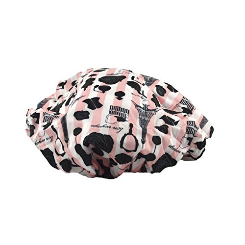 Betty Dain Socialite Collection Terry Lined Shower Cap, Waterproof Nylon Exterior, Reversible Design for Shower or Sleeping Cap, Oversized for All Hair Lengths, Elasticized Hem, Boudoir