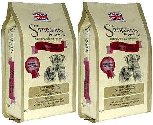2x 12kg Simpsons Premium Erwachsene Sensitive Huhn und Kartoffeln und Trockenfutter für Hunde AVSL Bügelkopfhörer