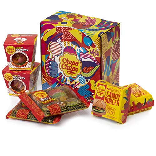 Caja Regalo Chupa Chups Candy Meals, Golosinas con formas de Sushi, Burger y Noodles, 6 unidades