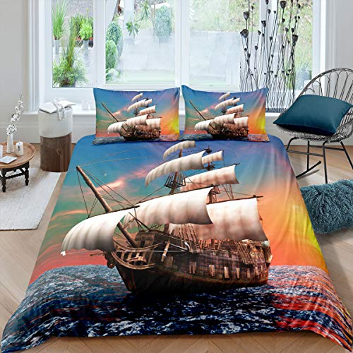 Pirate Duvet Cover Queen Sailboat Bedding Set Tropical Waters Maritime Style Comforter Cover Sunset Marine Pattern Quilt Cover Soft Microfiber Decorative 3 Piece Bedding Set with 2 Pillowcases