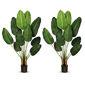 Silk Flower Arrangements THE BLOOM TIMES 2 Pack 5.2 FT Silk Bird of Paradise Artificial Plants Home Decor Indoor Outdoor, Fake Tropical Palm Tree Potted Faux Plants Indoor Tall with Pot Office Living Room House Decoration