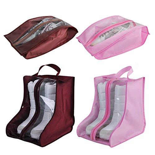 CHRISLZ 4 pack Chaussures Sac Anti-poussière Chaussures Imperméables Sac Sac De Rangement Maison Chargée Chaussures Organisateur Sacs(WINE-PINK)