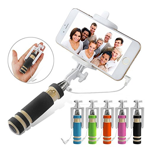 Ducomi® Mini Bastone per Selfie Portatile Pieghevole ed Estensibile fino a 48 cm con Cavo AUX