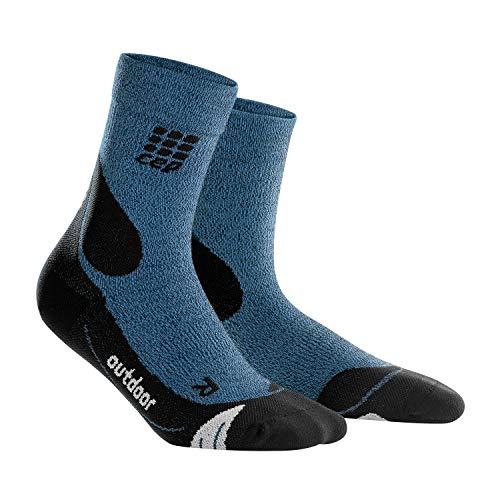 CEP – Hiking Merino MIDCut Socks für Damen | Warme Wandersocken knöchellang in blau/schwarz | Größe III