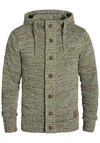 !Solid Pierrot Herren Strickjacke Cardigan Grobstrick Winter Pullover mit Kapuze und Knopfleiste, Größe:XL, Farbe:Ivy Green (3797)