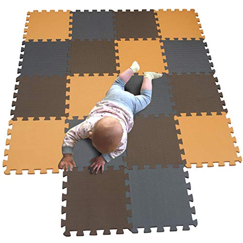 MQIAOHAM Esterilla Puzzle de Fitness-18 losas de EVA Espuma Alfombrilla Protección para el Suelo para máquinas Deporte y gimnasios sobre el Piso Fácil de Limpiar Naranja Marrón Gris 102106112