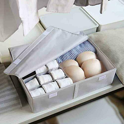 YOUYUANF Almacenamiento Multi-Grid Storage Box Socks Bra Finishing Box Creative Home Oxford Cloth Two-in-One Multifunctional Underwear Storage Box