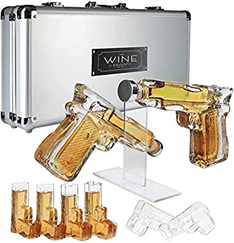 Pistol Whiskey Gun Decanter & Pistol Shot Glasses Set - Comes with A large Carrying Case - Drinking Party Accessories Great Gift!