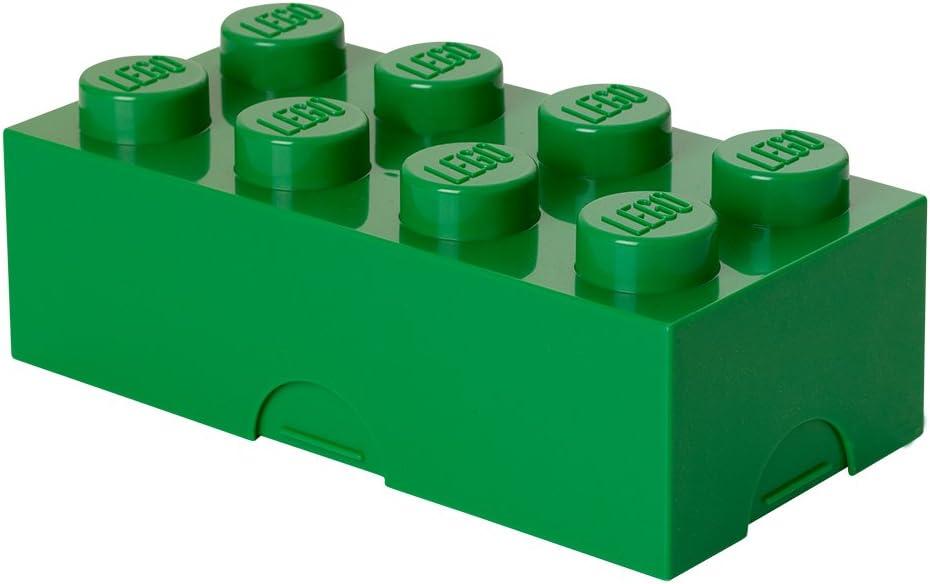 Room Copenhagen- Caja de Almuerzo de Lego de 8 espigas. Pequeño contenedor de Almacenamiento o Estuche, Verde, Color Oscuro, One Size (40231734)