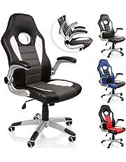 TRESKO® Silla de oficina Racing Gaming giratoria, escritorio ordenador, 4 colores diferentes, reposabrazos acolchados y regulables, mecanismo de inclinación basculante (Negro/Blanco/Gris)