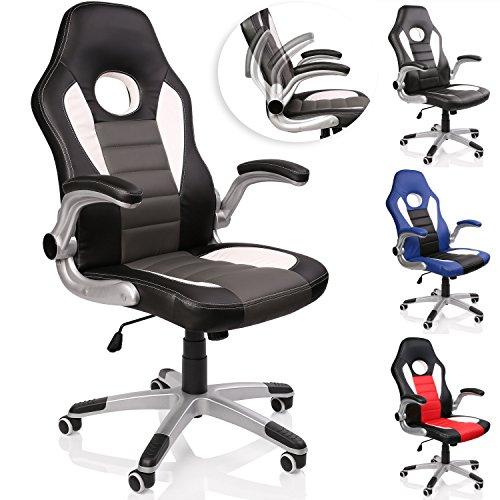 TRESKO Racing Bürostuhl Drehstuhl Chefsessel Schreibtischstuhl 4 Farbvarianten, gepolsterte und verstellbare Armlehnen, Wippmechanik, Lift SGS geprüft (Schwarz/Weiß/Grau)