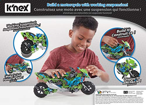 "K'NEX Mega Motorcycle Building Set - Ages 9+ - 456 Parts - Working Suspension, Authentic Replica Model, Advanced Stem Building Toy for Boys & Girls - 14.5"" L X 6"" H"