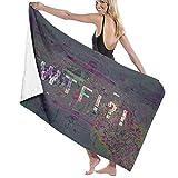 Yuanmeiju 32 X 52 Inch High Absorbency Bath Towel Glitch Abstract Word Lightweight Large Bath Sheet for Beach Home SPA Pool Gym Travel