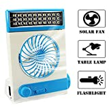 Ansee Solar Fan Camping Fan Cooling Table Fans 3 in 1 Multi-Function with Eye-Care LED Table Lamp Flashlight Torch Solar Panel Adaptor Plug for Home Use Camping (Blue)