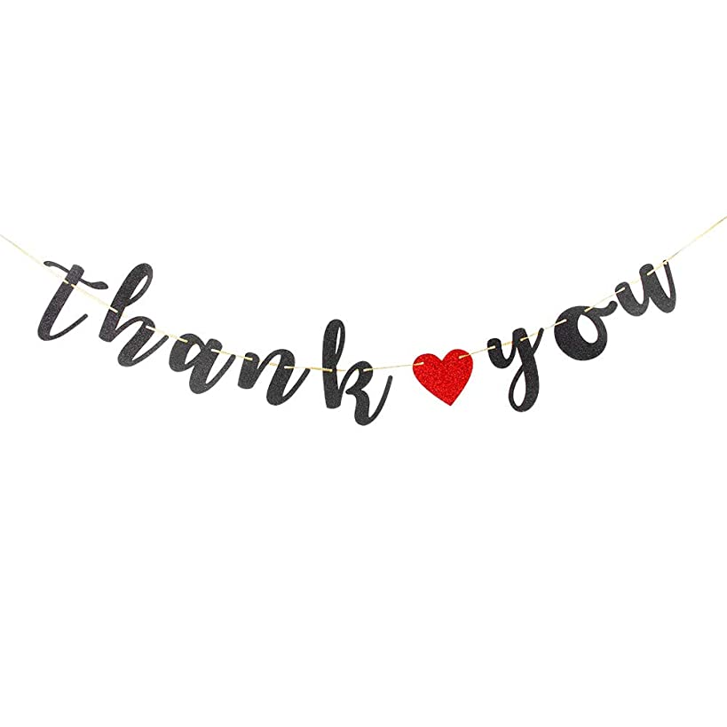 Thank You Banner Bridal Shower,Engaged,Fiesta Theme,Wedding Anniversary, Birthday Party Decorations(Black Glitter)