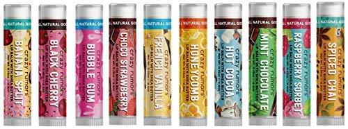 Crazy Rumors Flavourites Mix -Paquete de 10 cacaos labiales (10 cacaos labiales de 4 g), veganos y 100 % naturales