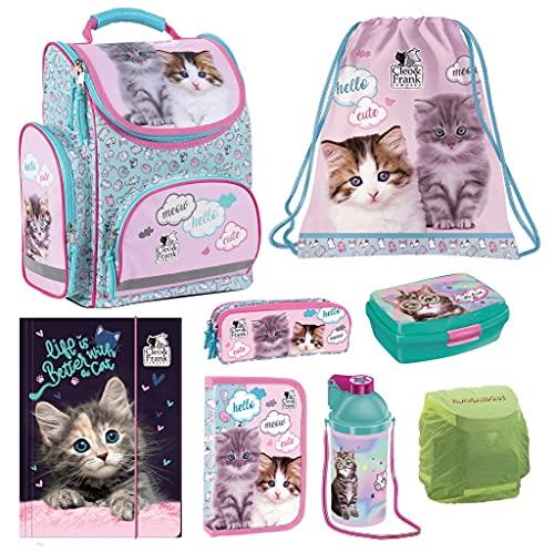Familando Mädchen Schulranzen-Set 8 TLG. Rosa Türkis mit Federmappe und Regenschutz Kitty Love süße Katze-n