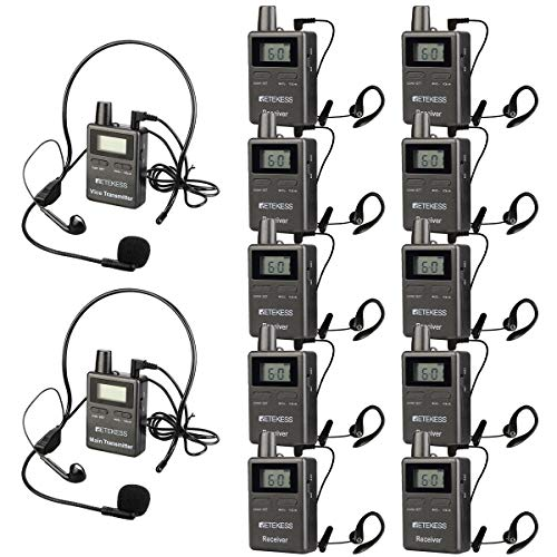 Retekess Case of 2 Transmitters and 10 Receivers, TT105,Wireless Tour Guide System,Two-Way Multichannel Translation System,Assistive Listening System for Church,Teaching,Factory