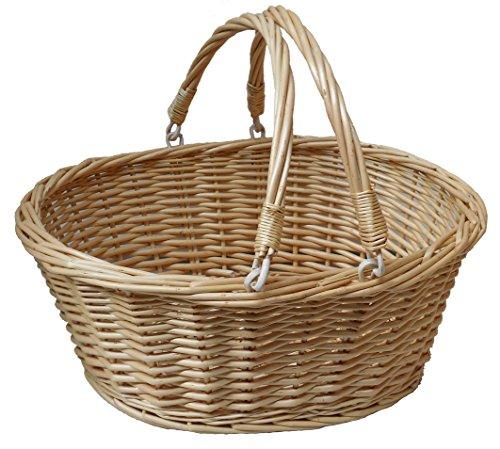 Jaffa Imports Tradizionale vimini cestino per la spesa con manici pieghevoli, in rattan naturale–41x 33x 18cm (altezza)