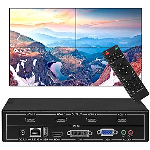 fomobest Video Wall Controller 2x2 TV Wall Processor 1080p 1x4 HDMI Splitter Output, USB HDMI VGA DVI Input with RS232 Control and Cascading, Display Modes 1x2 2x1 1x3 3x1 4x1