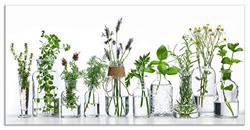 Artland Spritzschutz Küche aus Alu für Herd Spüle 120x60 cm Küchenrückwand mit Motiv Pflanzen Kräuter Gewürze Lavendel Basilikum Blumen H9KE
