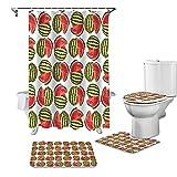 ZGDPBYF 4-Teiliges Duschvorhang-Set Sommer Obst Wassermelone Duschvorhang Toilettendeckel Abdeckung Badematten-Set Badezimmervorhänge Rutschfester Teppich Badewanne Wohnkultur