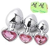 Acero inoxidable 3Pcs / Set Pink Heart Shape Diamond Design Ànâles Pl'ûg Trainer Set Hombres y mujeres principiantes...