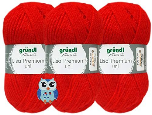 3x50 Gramm Gründl Lisa Premium Uni aus 100% Polyacryl Häkelgarn Schulgarn + 1 Eulen Knopf (12 Rot)