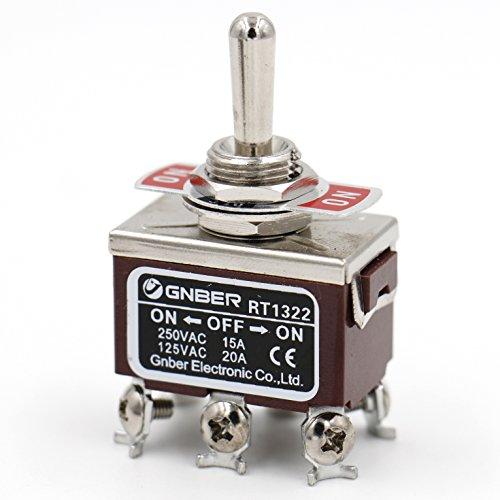 Heschen Interrupteur à bascule en métal RT1322 DPDT maintenu ON/OFF/ON 3 positions 15 A 250 VAC CE