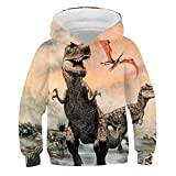 Sudadera unisex con capucha y diseño de dinosaurios, para Navidad, Halloween, canguro, 5 – 14 años de edad (A1,130)