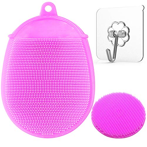 Toddler Silicone Body Bath Brush | The Bath Mitt | Quick-Dry Replacement to Kids Washcloth | Fits Both Parent or Child for Early Stage Development (Pink)