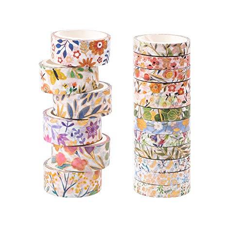 Washi-Tape, 18 Rollen Blumen-Abdeckband, Washi-Tape, Basteln, dekoratives Washi-Tape-Set für DIY, Geschenkverpackung, Scrapbooking, Kunst-Klebeband, Zubehör für Büro, Party-Zubehör