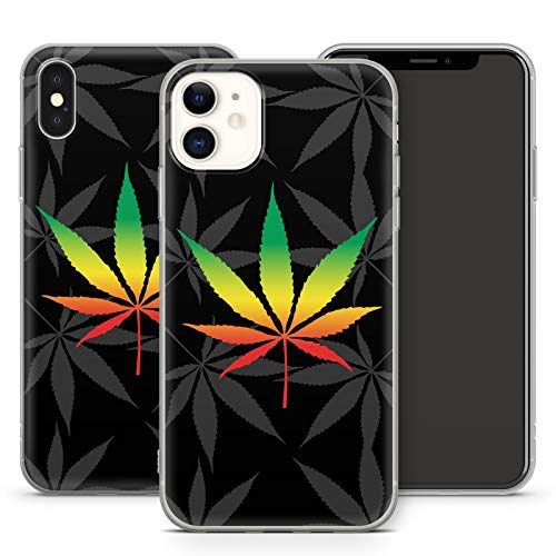 Handyhülle Hippie für iPhone Apple Silikon MMM Berlin Grass Käfer Bulli Weed Canabis Marihuana Hanf, Hüllendesign:Design 4 | Silikon Klar, Kompatibel mit Handy:Apple iPhone Xr