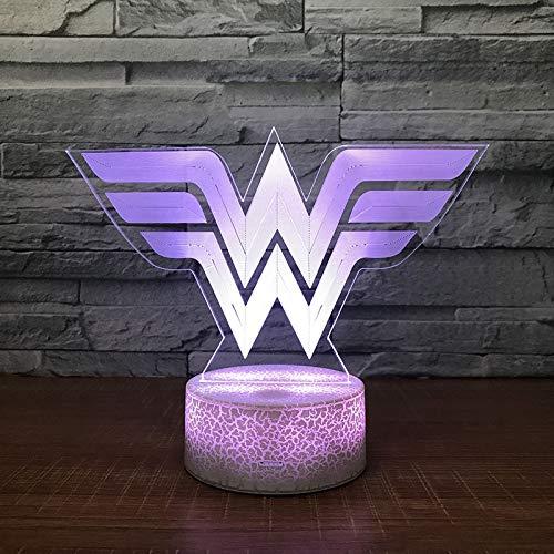 Lámpara de Mesa de acrílico Wonder Woman Night Light Color Moved Boys and Girls Christmas Toys Drop